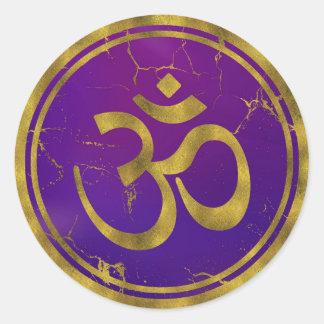 Pegatina Redonda Símbolo de OM del oro - Aum, Omkara en