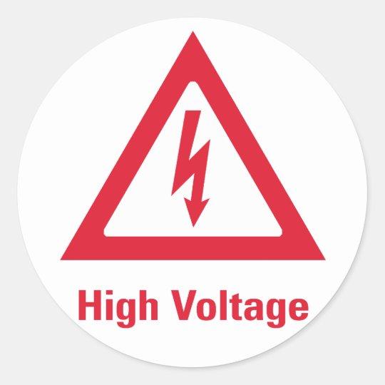 Pegatina Redonda Símbolo del alto voltaje del peligro