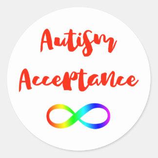 Pegatina Redonda Símbolo del infinito de la aceptación del autismo