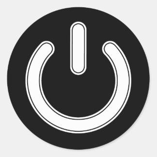Pegatina Redonda Símbolo del poder (blanco y negro)