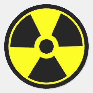 Pegatina Redonda Símbolo radiactivo del símbolo de la radiación