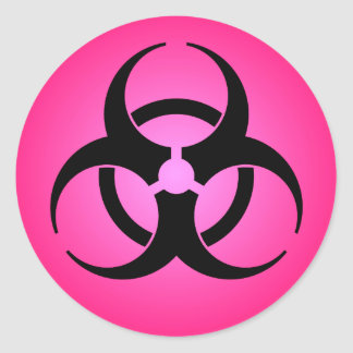 Pegatina Redonda Símbolo rosado del Biohazard
