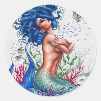 Pegatina Redonda Sirena azul