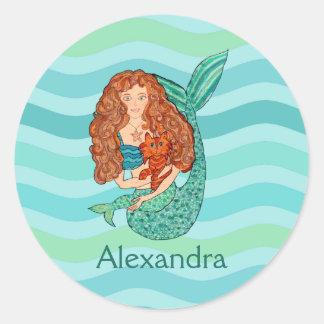 Pegatina Redonda Sirena linda y nombre de encargo verde de la