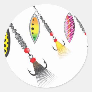 Pegatina Redonda Sistema de hilanderos que pescan el ejemplo del