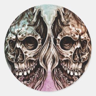 Pegatina Redonda skull and dragons, Tattoo sketch, handmade design