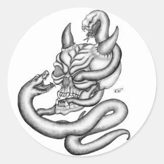 Pegatina Redonda Skull - devil heads with snake