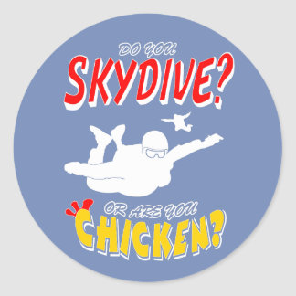 Pegatina Redonda ¿Skydive o pollo? (blanco)
