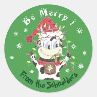 Pegatina Redonda Snowbell el vaca-Ser feliz, pegatinas del navidad