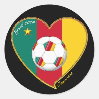 "Pegatina Redonda Soccer ""CAMEROON"" FOOTBALL Team, Fútbol de Camerún"