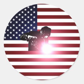 Pegatina Redonda Soldador y bandera americana