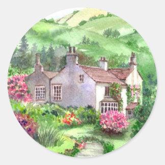 Pegatina Redonda Soporte de Rydal, el hogar de William Wordsworth