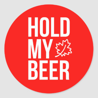 Pegatina Redonda Sostenga mi hoja de arce Canadá 20x de la cerveza