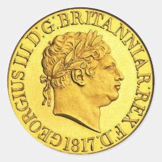 Pegatina Redonda Sovereign británico 1817 (paquete del oro de 6/20)