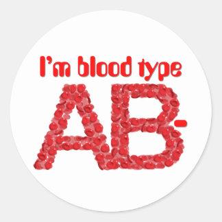 Pegatina Redonda Soy tipo de sangre negativa del AB