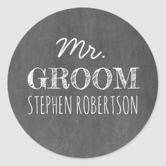 Pegatina Redonda Sr. Groom Chalkboard