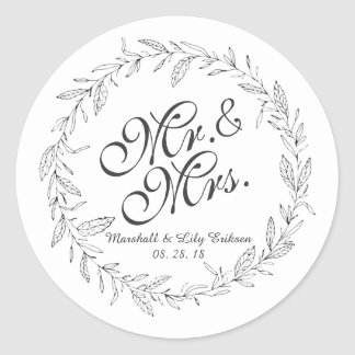 Pegatina Redonda Sr. y señora Simple Floral Wedding Sticker