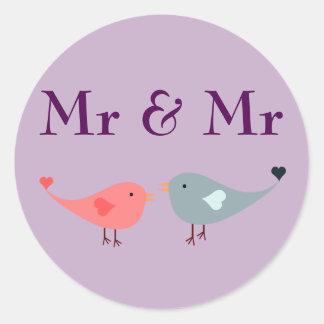 Pegatina Redonda Sr. y Sr. (boda)
