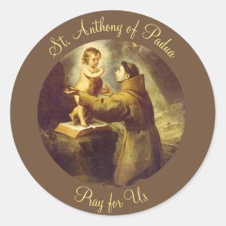 Pegatina Redonda St Anthony del bebé Jesús de Padua