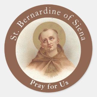 Pegatina Redonda St. Bernardine de Siena, sacerdote católico