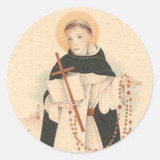 Pegatina Redonda St Dominic con el rosario