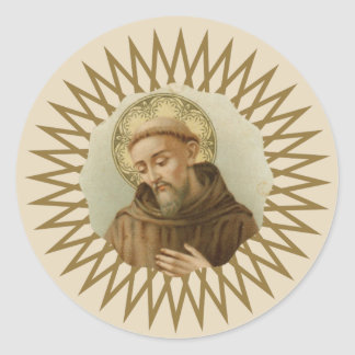 Pegatina Redonda St Francis del santo patrón de Assisi de animales