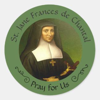 Pegatina Redonda St. Jane Frances de Chantal Feast 12 de agosto