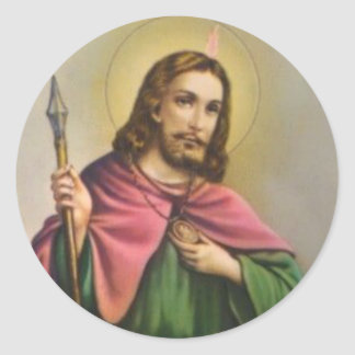 Pegatina Redonda St. Jude el primo del apóstol de Jesús