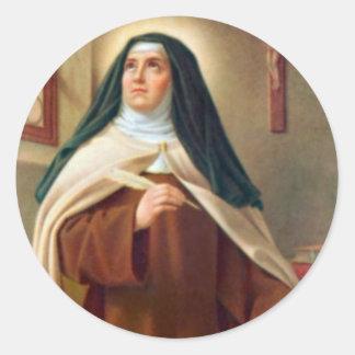 Pegatina Redonda St Teresa de la monja carmelita de Ávila