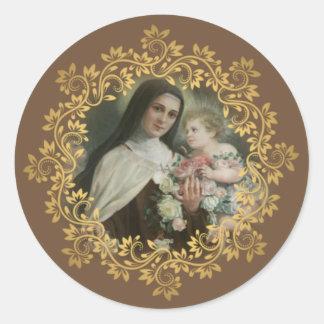 Pegatina Redonda St. Teresa del niño Jesús poca flor