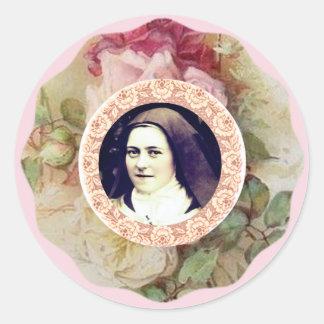 Pegatina Redonda St. Teresa los pequeños rosas de la flor