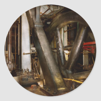 Pegatina Redonda Steampunk - ruedas del progreso