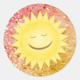 Pegatina Redonda Sun sonriente: Pegatinas 2 del brillo del arco
