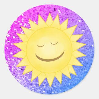 Pegatina Redonda Sun sonriente: Pegatinas 3 del brillo del arco