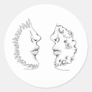 Pegatina Redonda Sun y luna