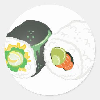 Pegatina Redonda Sushi Rolls