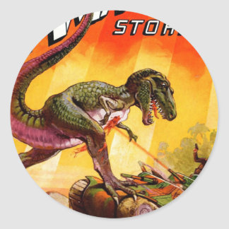 Pegatina Redonda T-Rex contra el tanque de Sherman