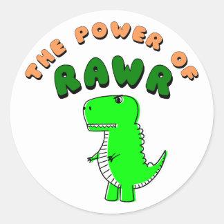 Pegatina Redonda T-Rex el poder de RAWR