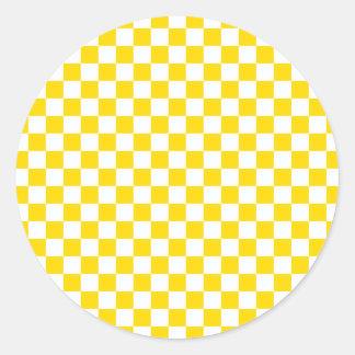 Pegatina Redonda Tablero de damas amarillo