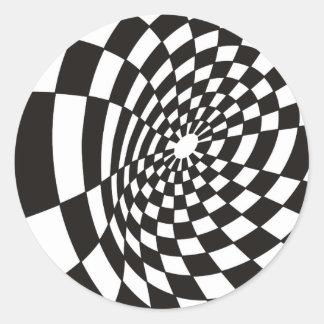 Pegatina Redonda Tablero de damas deformado en blanco y negro