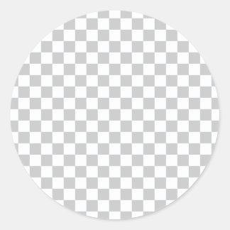 Pegatina Redonda Tablero de damas gris claro