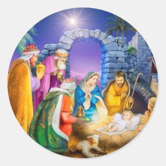 Pegatina Redonda Tarjeta de Navidad cristiana
