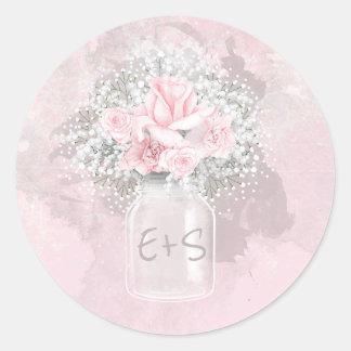 Pegatina Redonda Tarro color de rosa y del bebé rosado de la