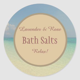 Pegatina Redonda Tarro de albañil rústico de la sal de baño de la