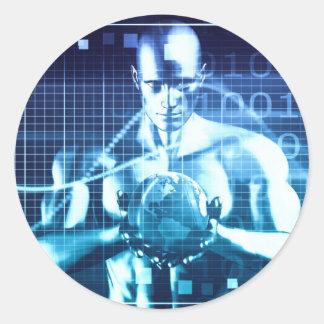 Pegatina Redonda Tecnologías integradas en un concepto llano global