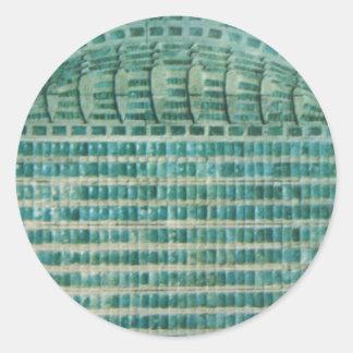 Pegatina Redonda tejas azules del trullo