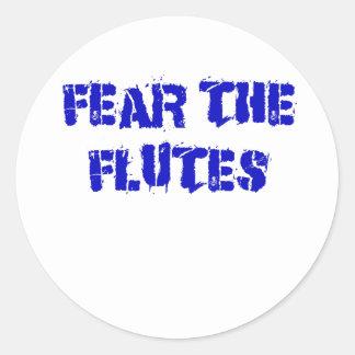 Pegatina Redonda Tema las flautas