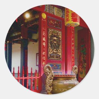 Pegatina Redonda Templo en Yilan, Taiwán