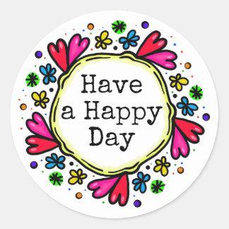 Pegatina Redonda Tenga pegatinas de pensamiento positivos de un día