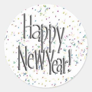 Pegatina Redonda Texto de la plata de la Feliz Año Nuevo